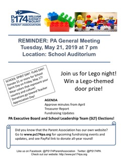 PA General Meeting on Tuesday, May 21 – P S  174 William